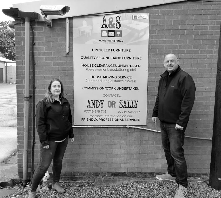 ANDY AND SALLY A AND S HOME FURNISHINGS black and white